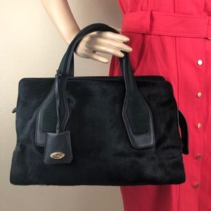 Tod's black satchel in leather/ pony hair
